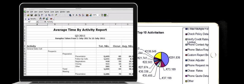 acim time studies on a laptop and a tablet - tijdstudies